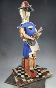 """Busking on the Bricks"" ceramic sculpture"